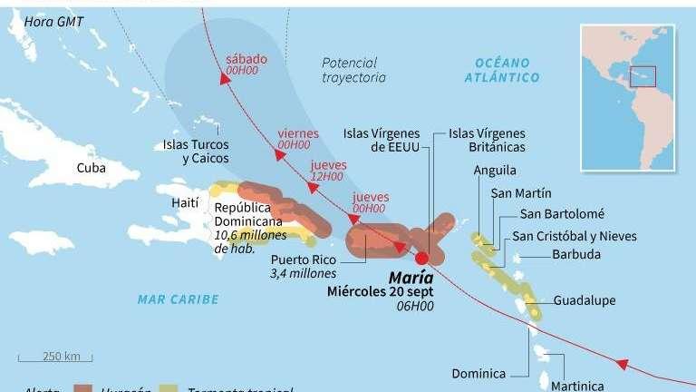 El huracán María golpea a Puerto Rico con trombas de agua y vientos de 240 km/h