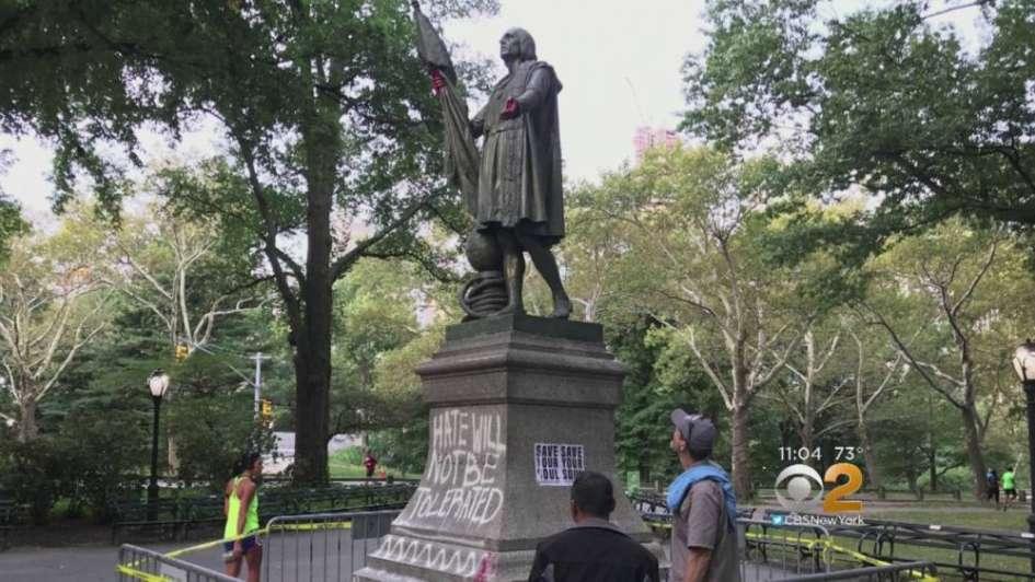 La estatua de Cristóbal Colón también divide a Nueva York: amaneció vandalizada