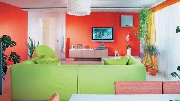Pintar y decorar tu casa en rojo y verde for Casas pintadas interior