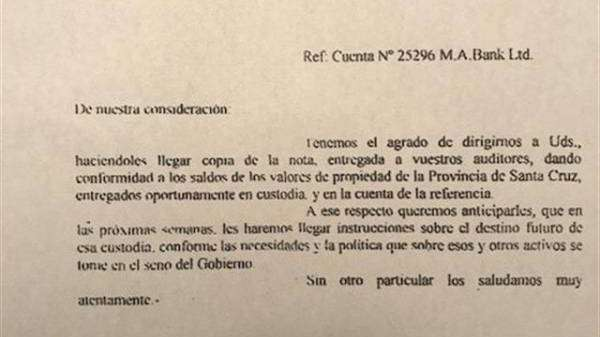 Aparece una carta que revela que Kirchner manejaba fondos de Santa Cruz en un paraíso fiscal