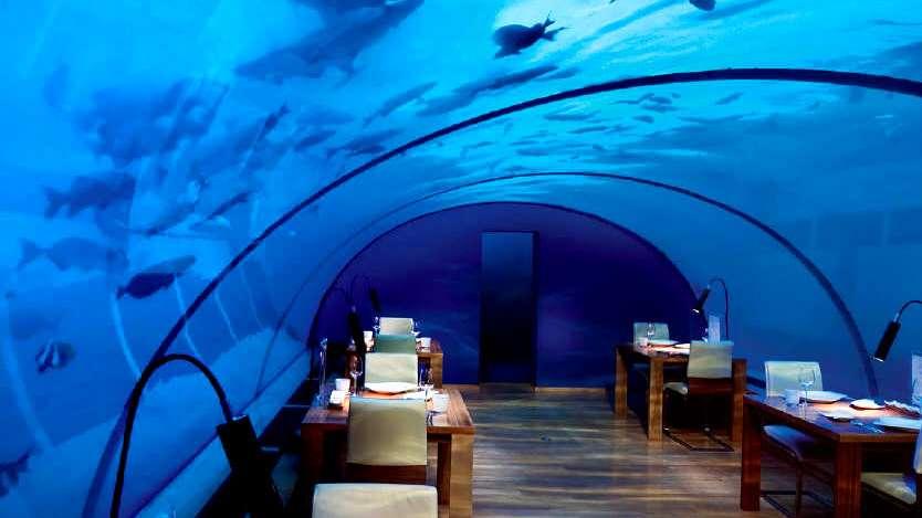 Maldivas comer bajo el agua for Islas maldivas hoteles en el agua