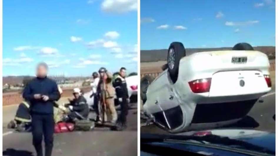 Volcó un auto sobre el puente del Río Mendoza en Luján: dos jóvenes resultaron heridos