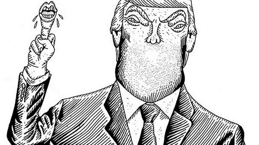 Manteca de maní en la barbilla del equipo de Trump