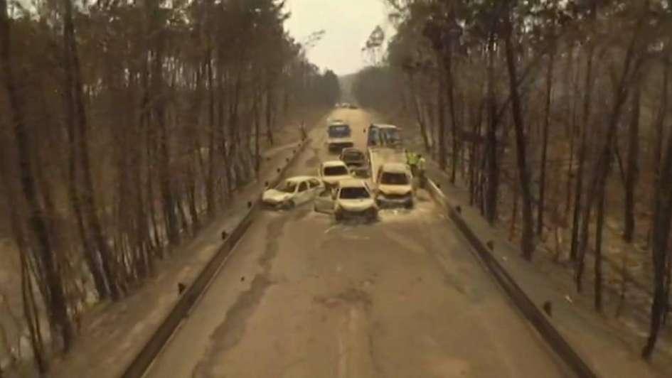 Pesadilla en Portugal: murieron calcinados en sus autos tratando de escapar del fuego y ya hay 62 víctimas