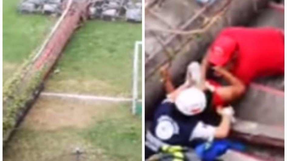 Se desplomó una torre de iluminación en un estadio de Bolivia y murió un nene de 3 años