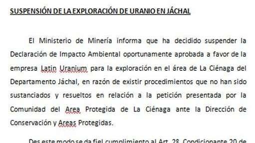 Vecinos lograron que el gobierno de San Juan suspenda exploración de uranio