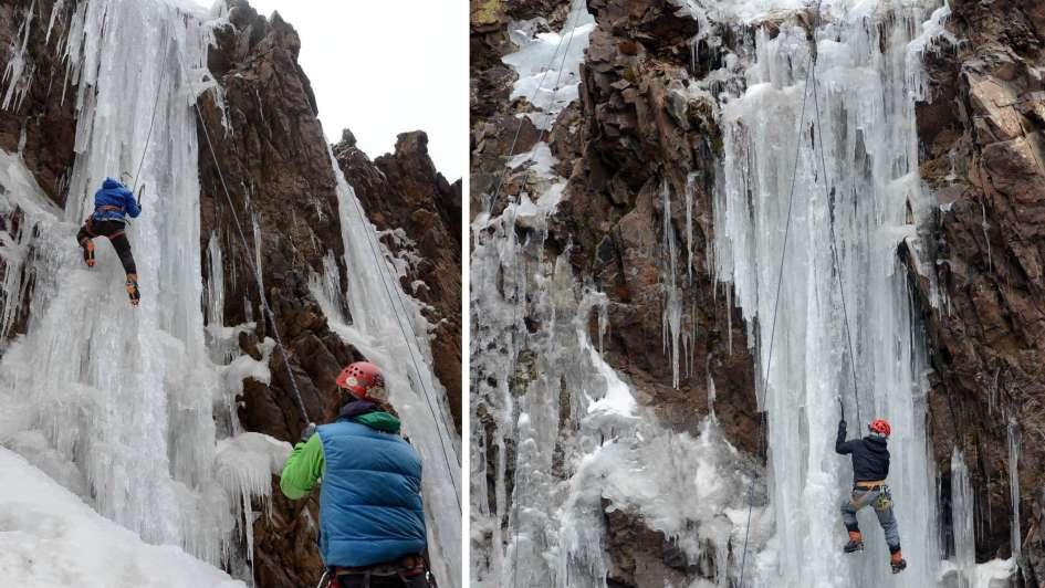 Escalada en hielo: deportistas sobre cataratas artificiales