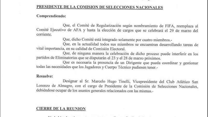 Tinelli fue designado presidente de la Comisión de Selecciones Nacionales