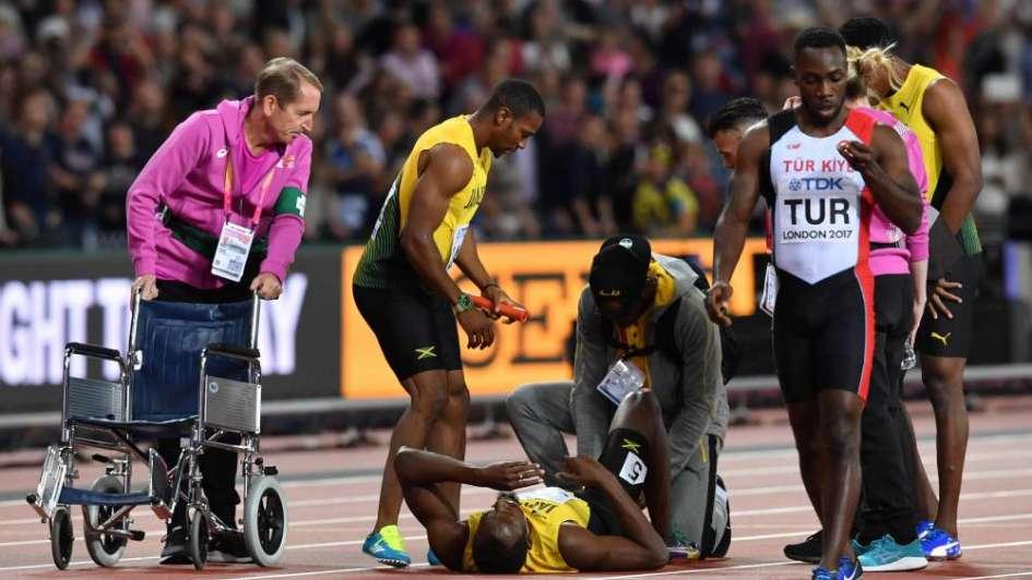 Video: increíble lesión de Usain Bolt durante la última final de su carrera