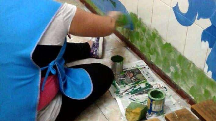 San Carlos: pintaron las paredes de Pediatría del Tagarelli