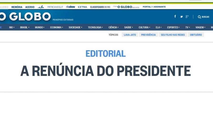 El diario más importante de Brasil pide la renuncia del presidente Temer