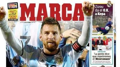 El influyente diario madrileño Marca le dedicó su portada al astro del Barcelona antes que al de Real Madrid.