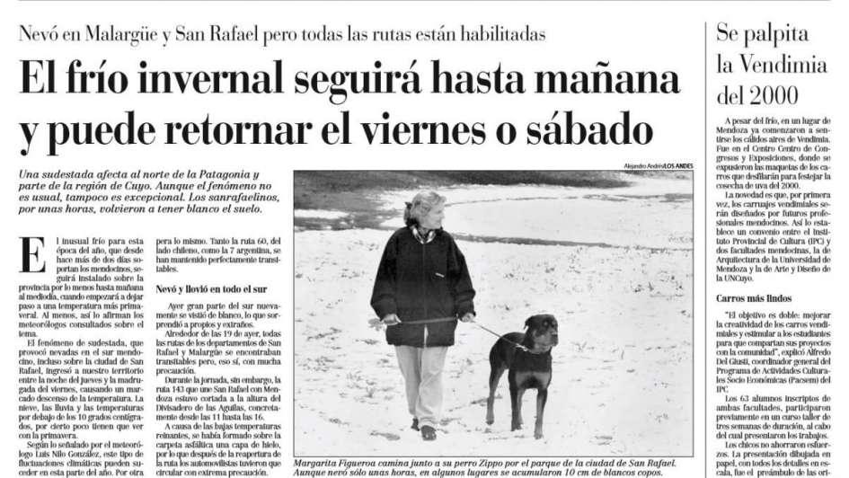 La última vez que nevó en octubre en Mendoza fue en 1999 y así lo reflejó Los Andes