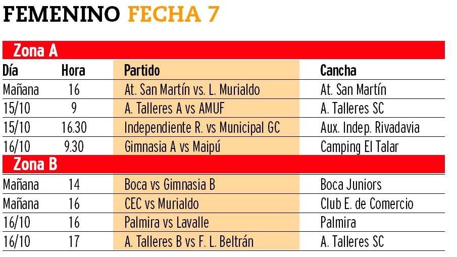 El programa de partidos de los torneos masculino y femenino de la Liga Mendocina