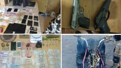 Algunos de los elementos secuestrados en 13 allanamientos.