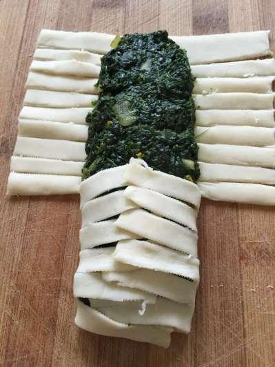 Riquísima y saludable: trenza de harina integral rellena de espinaca y ricota