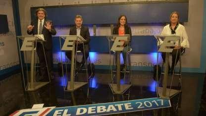 Ramón, Félix, Barbeito y Najul, anoche en los estudios de Canal 9, donde tuvieron el último debate de la campaña.