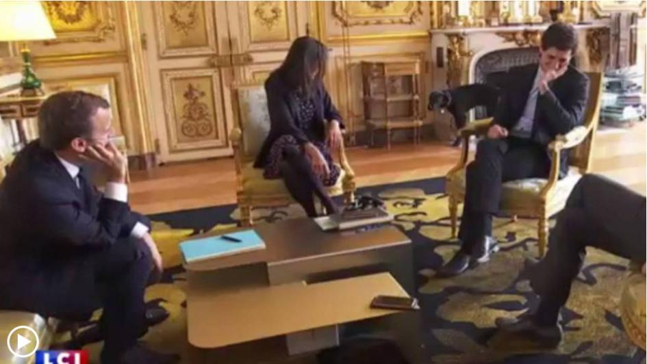 Perro de Macron interrumpe reunión al ponerse a orinar en una chimenea