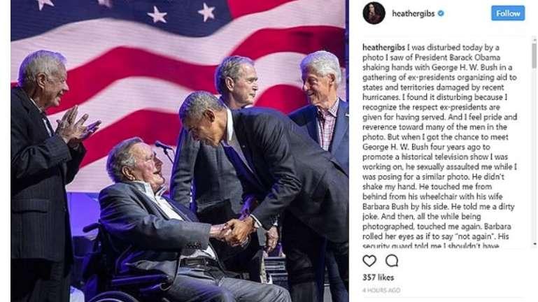 Actriz acusa a expresidente Bush de acoso sexual