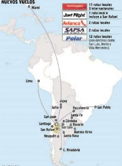 Autorizan 31 rutas aéreas nuevas para Mendoza