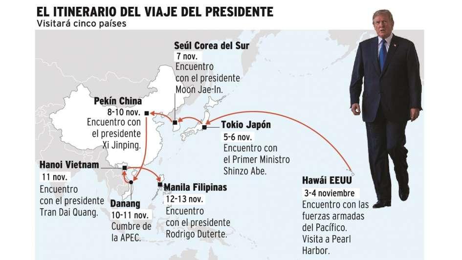 Trump viaja rumbo a Asia para gira de 12 días
