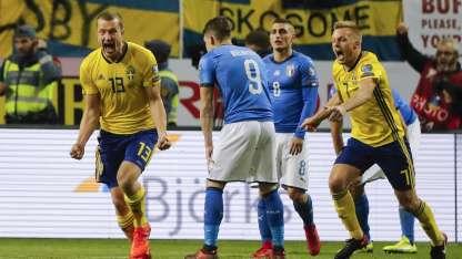 Johansson festeja el gol del triunfo de los suecos.