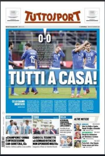 Fracaso de la Azzurra: así titularon los diarios italianos la eliminación de Rusia 2018