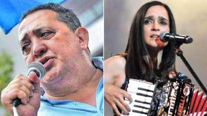 El líder piquetero y la cantante mexicana estuvieron juntos en La Matanza.