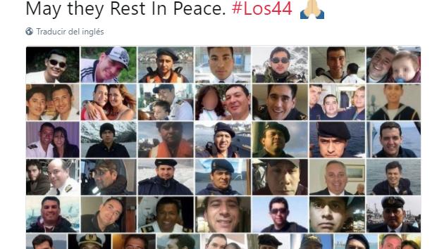 Ministro argentino da el pésame a las familias de los 44 submarinistas