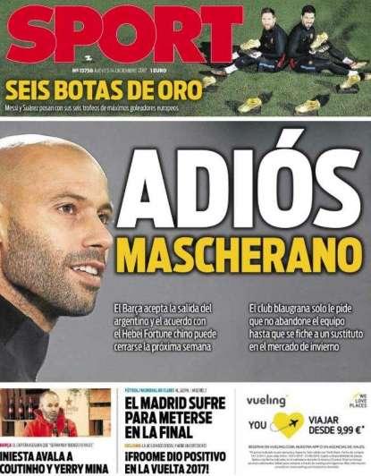 'Adiós Mascherano', un diario español confirmó que se va de Barcelona