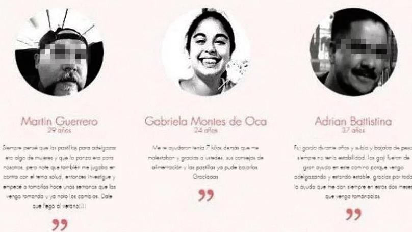 Usaron la imagen de Micaela García para promocionar unas pastillas para adelgazar
