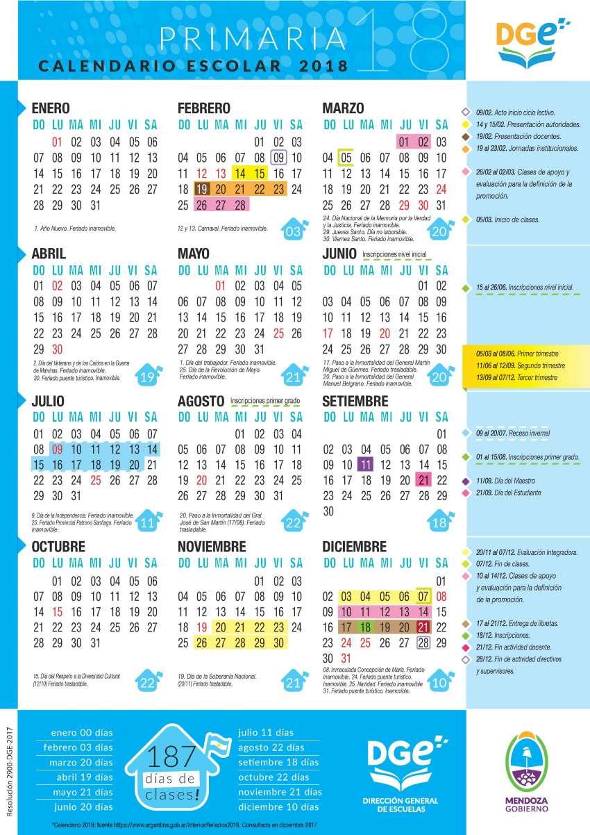Todos los detalles del Calendario Escolar 2018  vacaciones 77b11887970