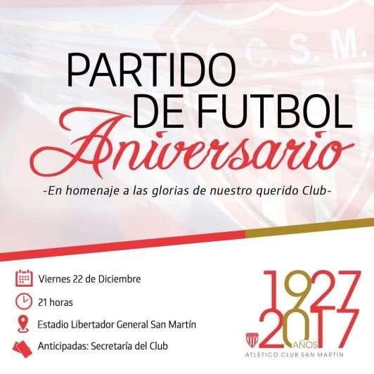 El Atlético San Martín festejará sus 90 años a puro fútbol