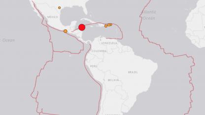 Epicentro del sismo en Honduras