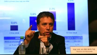 El ministro de Hacienda, Nicolás Dujovne, al dar ayer los números finales de 2017.