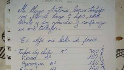 Se quedó sin trabajo, escribió una carta y se hizo viral
