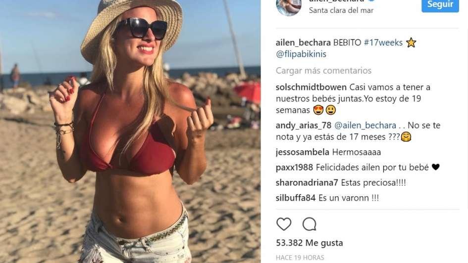 Ailén Bechara lució su pancita de 17 semanas de embarazo