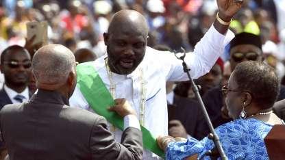 Weah en el acto de asunción como presidente de Liberia.