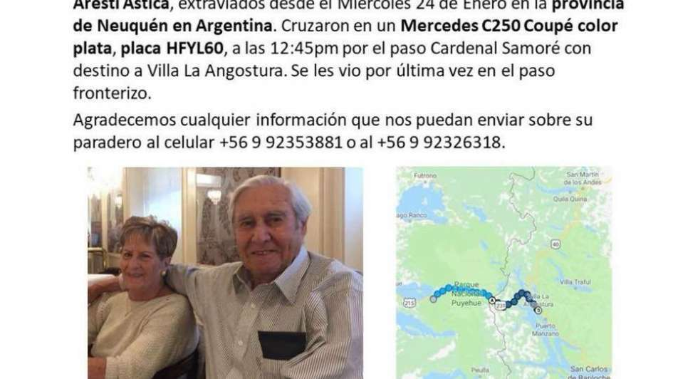 Encuentran a pareja de abuelos chilenos extraviada en Argentina