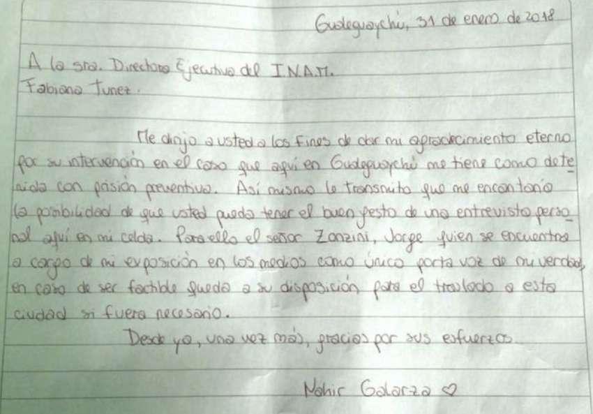 Caso Nahir Galarza: La joven escribió una carta desde la cárcel