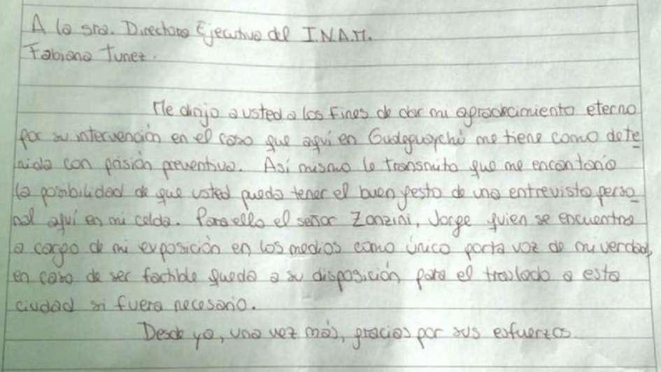 Nahir Galarza escribió una carta desde la cárcel
