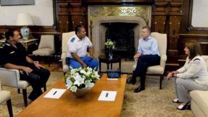 El Presidente recibió a Chocobar en la Casa Rosada y le expresó su apoyo.