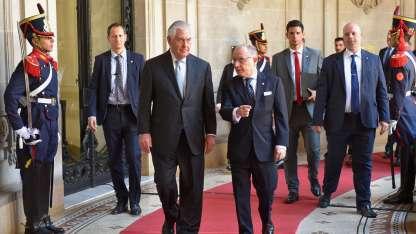 El secretario de Estado norteamericano, Rex Tillerson y el canciller, Jorge Faurie.