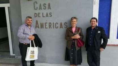 Liliana Bodoc en Cuba junto a Diego Gareca y Alejandro Frías - Gentileza Diego Gareca
