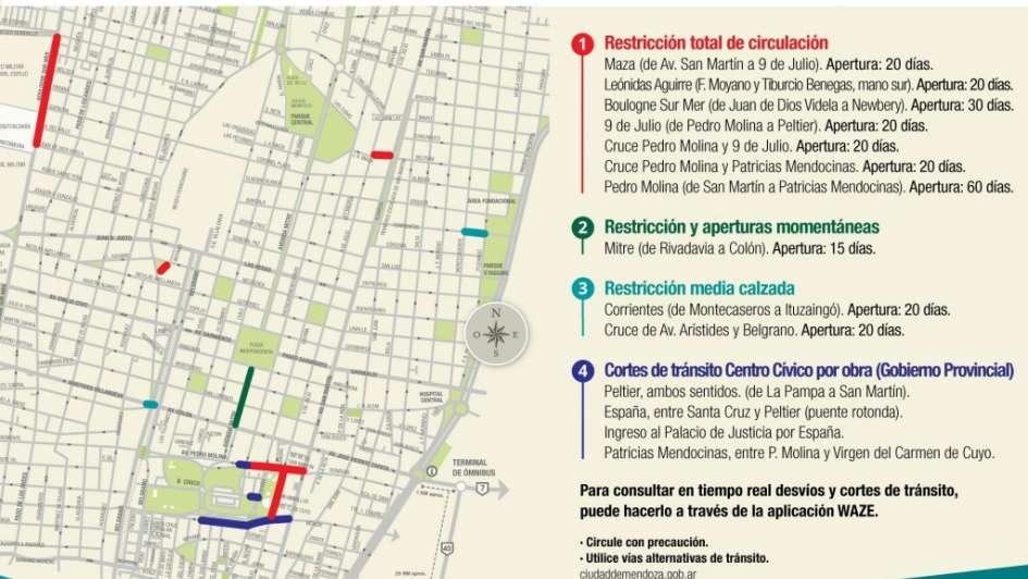 Siguen los cortes de calle en el Centro por el Plan de Renovación Urbana