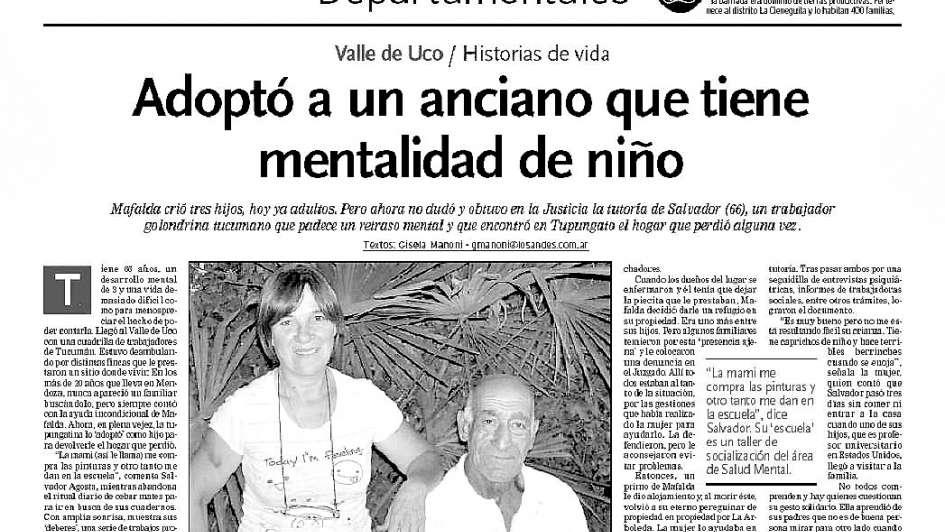 """Salvador, el hombre """"adoptado"""" en Tupungato que volvió a tener otra noticia feliz"""