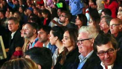 Félix, González García y Menéndez, entre el público.
