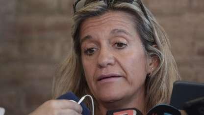 La fiscal Claudia Ríos, en conferencia de prensa este mediodía.
