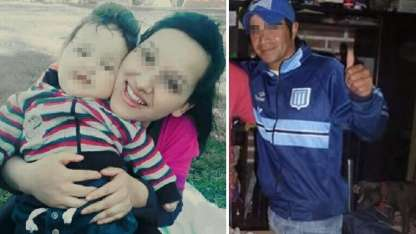El bebé golpeado y sus padres, quienes pasaron al penal.