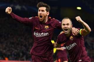 Messi e Iniesta, autor y asistidor del tanto del Barcelona.